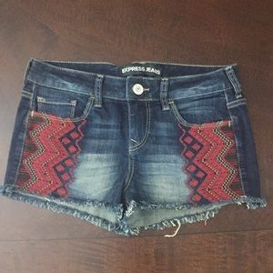 Express Embroidered Jean Shorts